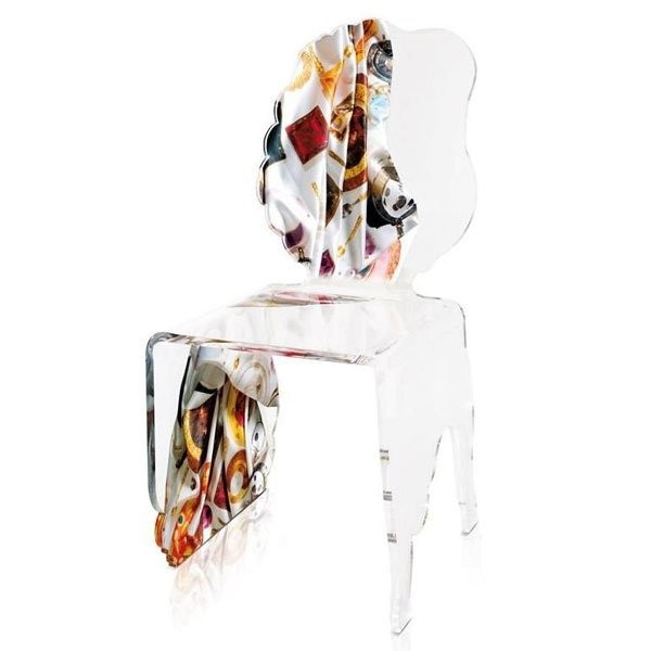 Chaise design & lumineuse CARLO RAMPAZZI, H92.5cm ACRILA