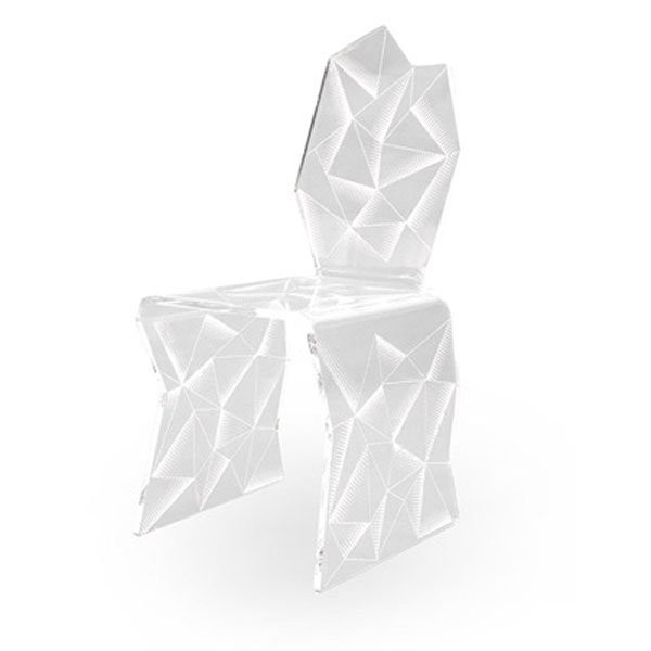Chaise design & lumineuse ORIGAMI Transparent, H93cm ACRILA