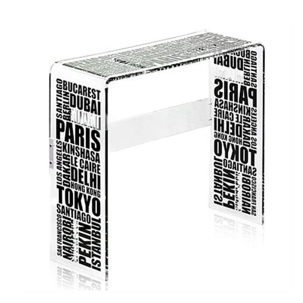 Table design & lumineuse - Table haute CITY Noir, H80cm ACRILA
