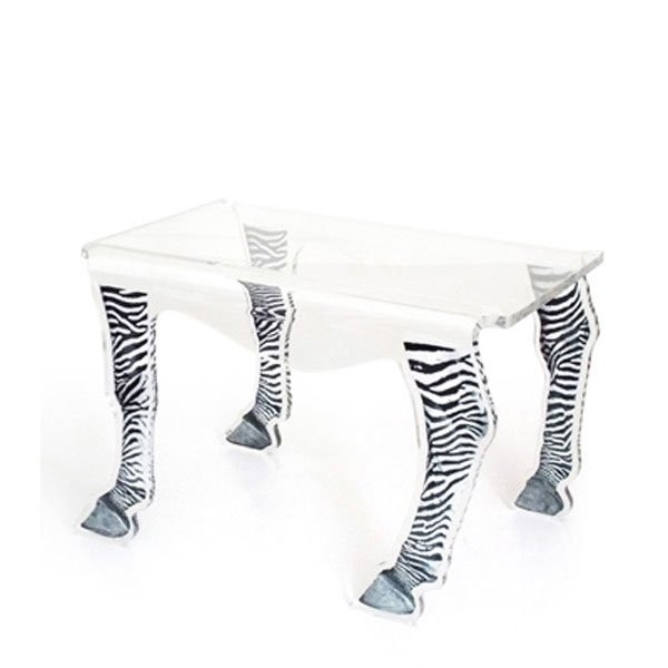 Table basse design & lumineuse ZEBRE Transparent, H42cm ACRILA