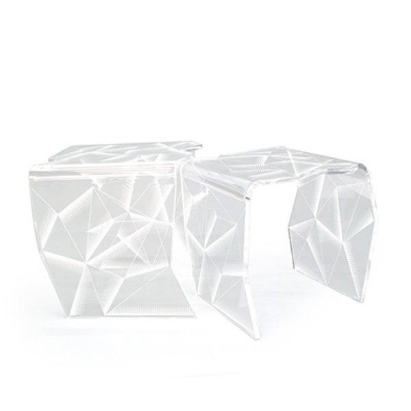 Table basse design & lumineuse ORIGAMI Transparent, H47cm ACRILA
