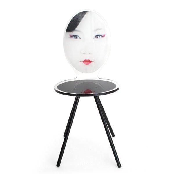 Chaise design & lumineuse MME YU Noir, H91cm ACRILA