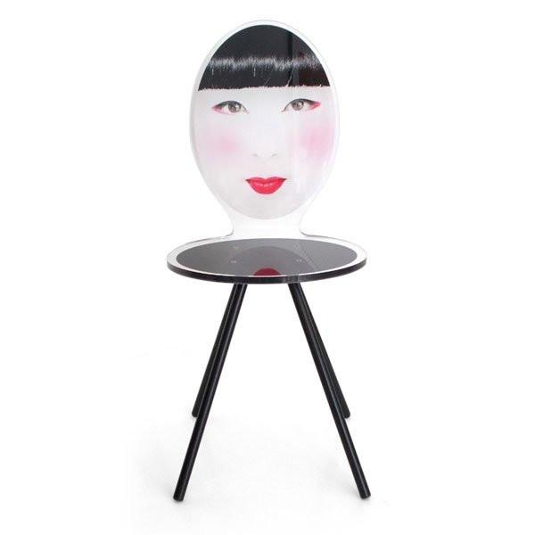 Chaise design & lumineuse MME FUKI Noir, H91cm ACRILA