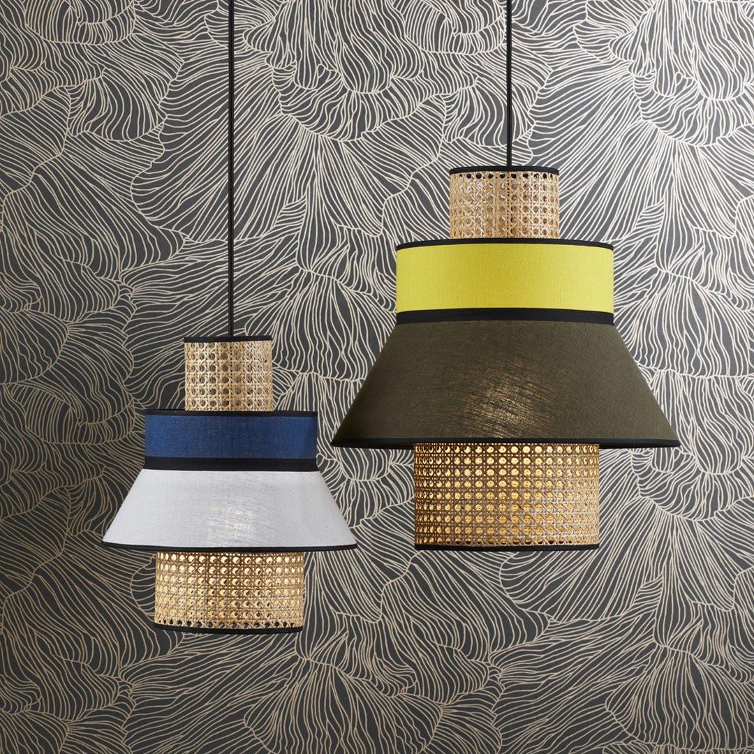 SINGAPOUR Lampe à poser cannage et lin naturel H56cm