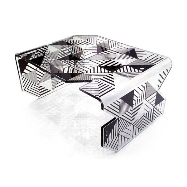 Table basse design & lumineuse POLYGONE, H44.5cm ACRILA