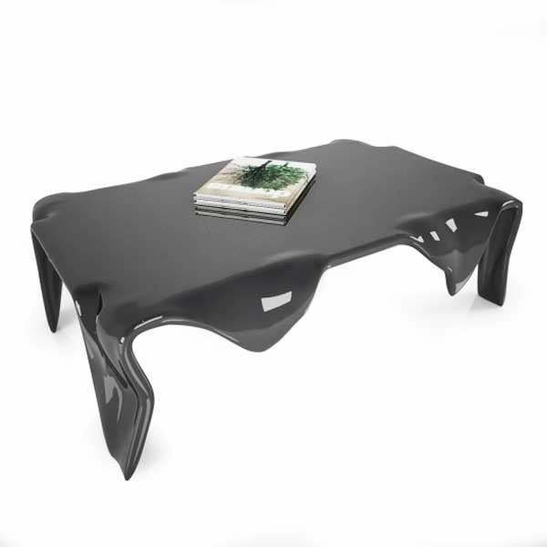 Table basse design & lumineuse QUADRO Noir, H30cm ZAD