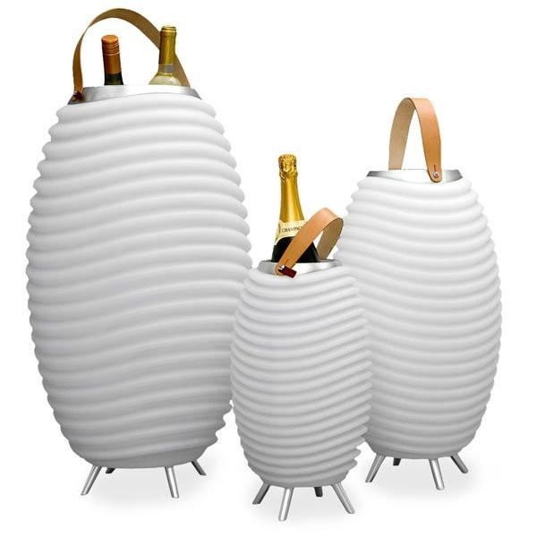 Pots lumineux design SYNERGIE avec enceinte et LED KOODUU